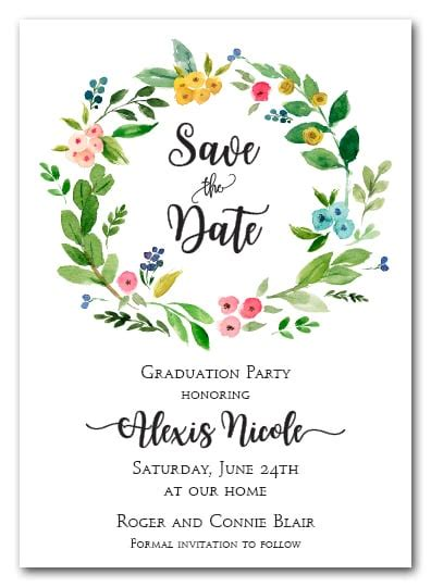 donna floral wreath save  date cards wedding save
