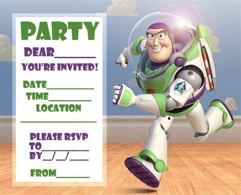 free story woody and buzz lightyear invitation