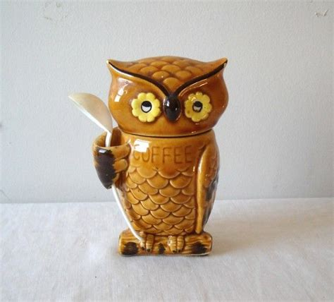 owl kitchen canisters vintage owl coffee canister ceramic japan kitsch jars