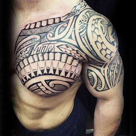 tribal tattoos chest and arm 75 tribal arm tattoos for interwoven line design ideas