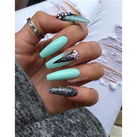 mint  black coffin nails nail art gallery