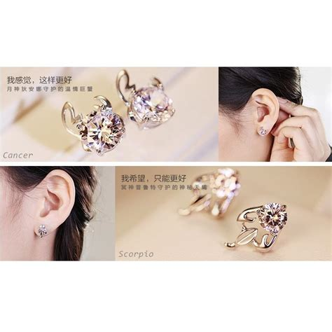Silver Earring Anting Silver zodiac earrings taurus white 925 sterling silver