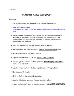the periodic table webquest answers history of the periodic table webquest answer key