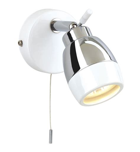 Bathroom Light Pull Cord 8201wh Ip44 Marine White With Chrome Bathroom Wall Spotlight With Pull Cord Firstlight 8201wh