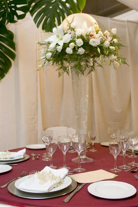 fancy place setting fancy table set for a wedding celebration stock photo