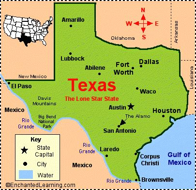 texas state on map maps usa map texas