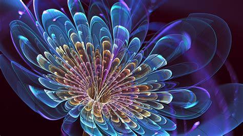 neon blue flower  golden petals phone wallpapers