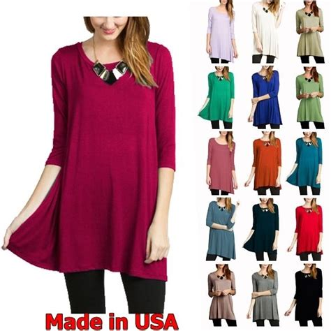 Prio Blouse X S M L usa womens 3 4 sleeve tunic top dress neck blouse s