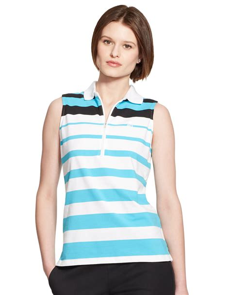 Aqua Blouse Striped by ralph sleeveless striped polo shirt in