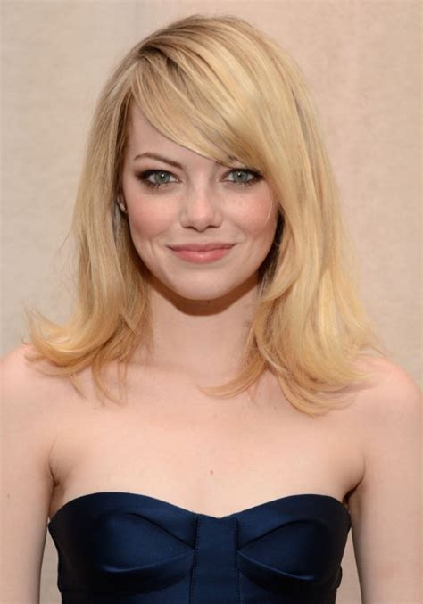 hairstyles for medium length hair side fringe emma stone layered medium length hairstyle with side swept