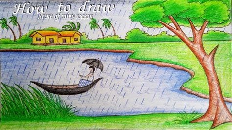 how to draw a boat using figure 8 drawn river elementary drawing exam nature pencil and in