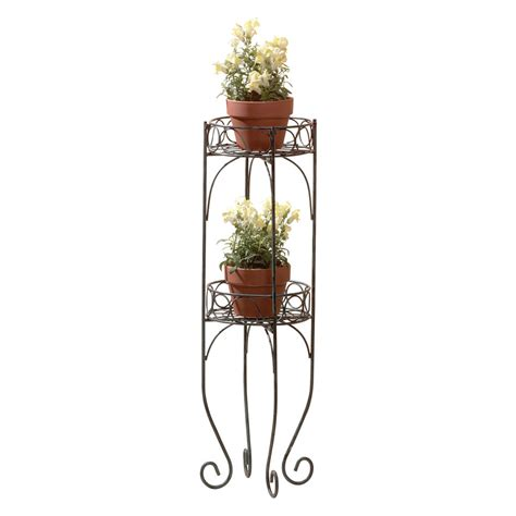 Metal Plant Rack by New Metal Scroll Design Pot Plant Shelf Stand 2 Tier