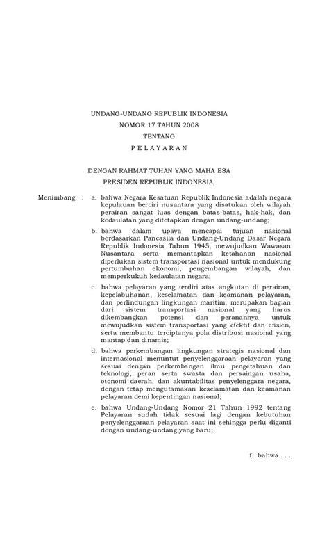 undang undang no 17 tahun 2008 tentang pelayaran