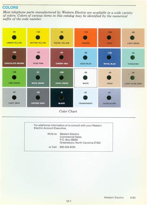 western electric products telephones color charts