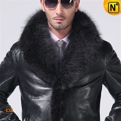 guys that trim men s fox fur lined lambskin coat with fur trim cw852458