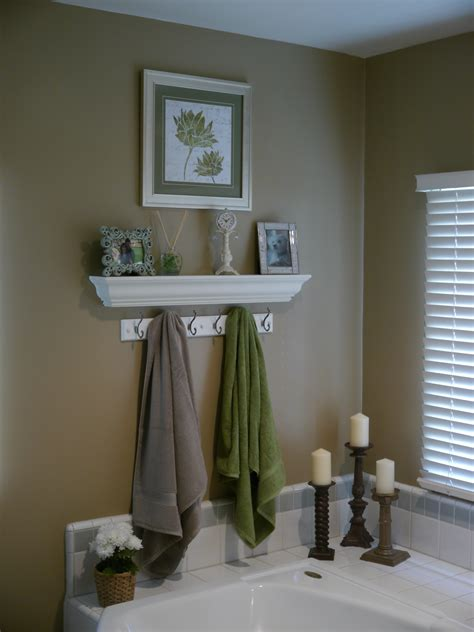 Master Bathroom Following Friends Bathroom Shelves Decorating Ideas