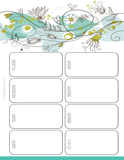 weekly planner template monday to friday asptur com
