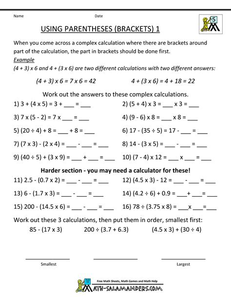 Worksheets For Grade 5 by Math Worksheets 5th Grade Complex Calculations