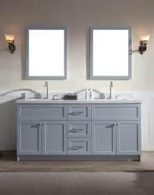 Grey Double Sink Vanity Ariel Hamlet 73 Quot Double Sink Vanity Set With White Quartz