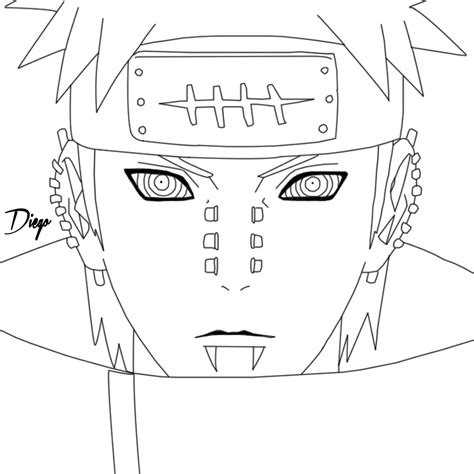 pain naruto coloring pages lineart yahiko pain by diegossjeditions on deviantart