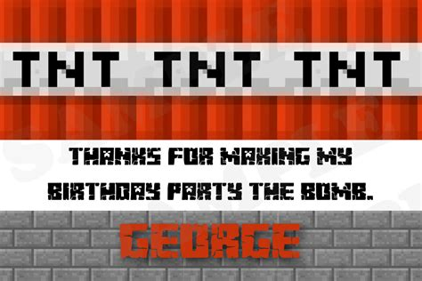 tnt minecraft birthday theme thank you cards by