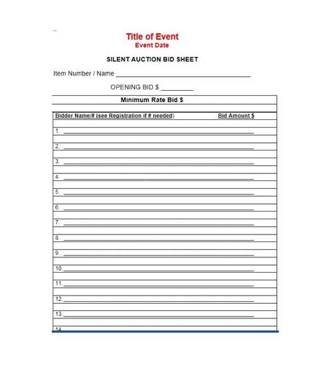 bid auction 40 silent auction bid sheet templates word excel