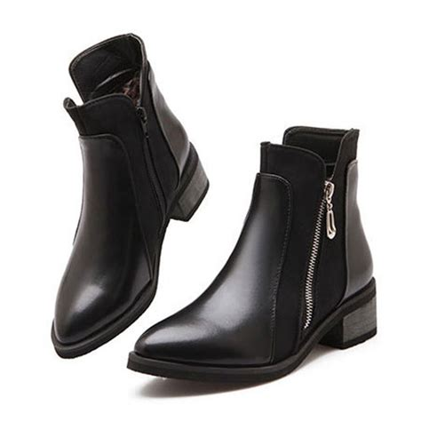 female biker boots with heels ankle boots for women boots square heels pointed toe botas