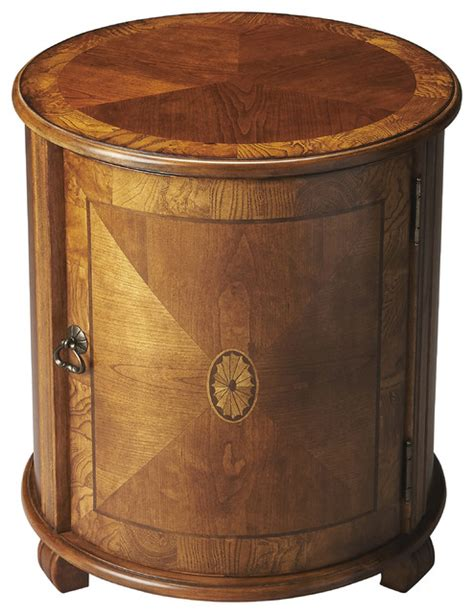 drum accent table lawrie olive ash burl drum table traditional side