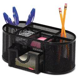 Office Supplies For Desk Mesh Pencil Cup Organizer Four Compartments Steel 9 1 3 X 4 1 2 X 4 Black Rolodex 1746466