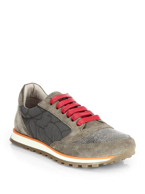 brunello cucinelli mixed media laceup sneakers in gray lyst