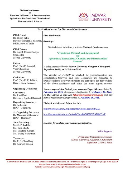 National Conference Invitation Letter Invitation Letter Format To Chief Guest Image Collections Invitation Sle And Invitation Design