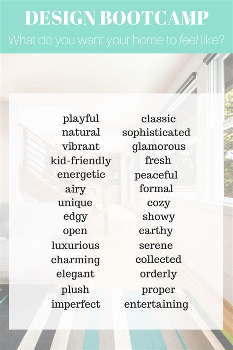 design style words      home  feel