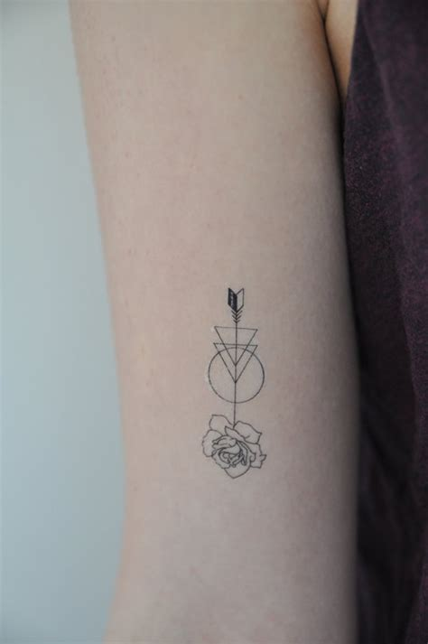 rose temporary tattoo arrow temporary modern illustration small