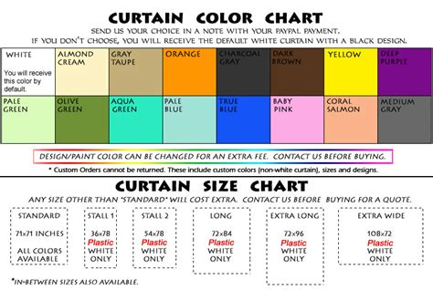 curtain sizes chart unique personalized custom shower curtains designer
