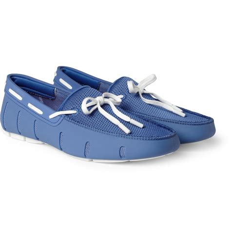 swims rubber and mesh boat shoes in blue for men lyst - Swims Rubber And Mesh Boat Shoes