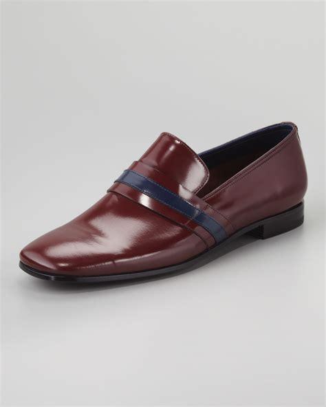 prada mens loafer prada runway striped leather loafer in for
