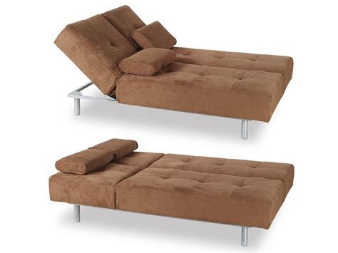 trio brown microfiber sofa bed by at home usa