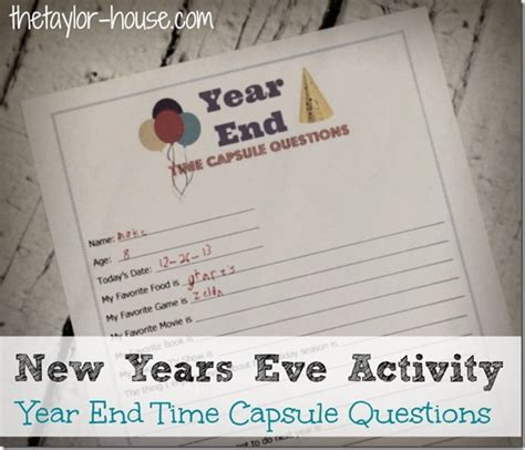 new year questions new years activity time capsule questions the