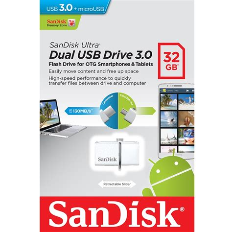 Flashdisk Sandisk Ultra Dual Otg Flash Drive Usb 3 0 32 Gb sandisk ultra dual otg usb flash drive usb 3 0 32gb sddd2 032g white jakartanotebook