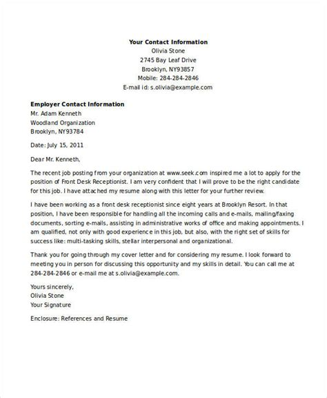 application letter for dental receptionist 9 receptionist application letters free word pdf