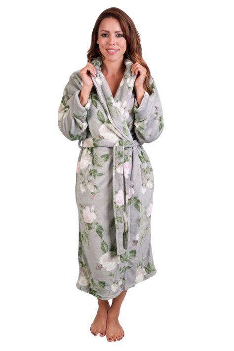 Flower Pattern Robe | women s plush floral robe fleece robe elegant floral