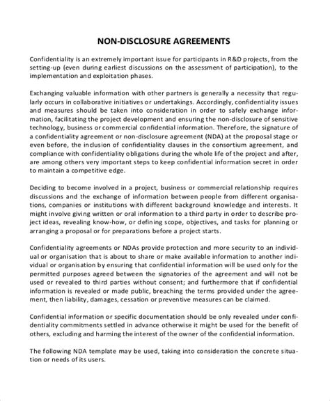 Simple Non Disclosure Agreement Form 13 Free Word Pdf Documents Download Free Premium Free Non Disclosure Agreement Template California