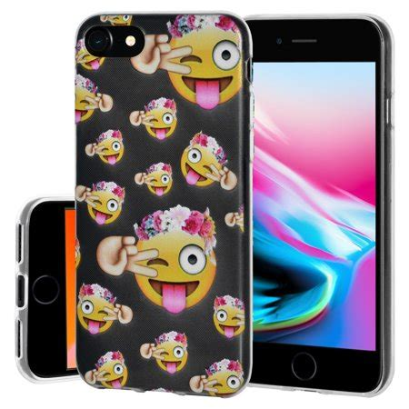 iphone 8 plus soft gel tpu clear with emoji design slim protective cover