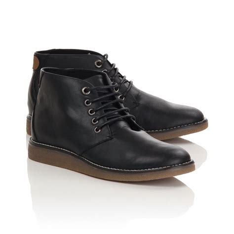 mens black wedge sole casual boots