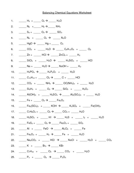 Chemical Reactions Worksheet by Free Math Worksheets Balancing Equations 1000 Images