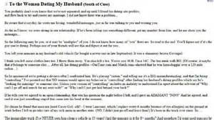 Break Letter Mistress wife writes scathing open letter to cheating husband s