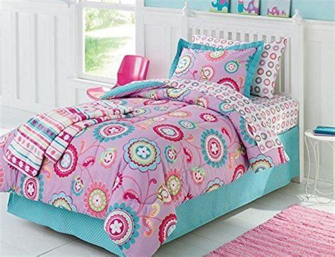 girls twin bed in a bag purple pink aqua girls flower twin comforter set 5