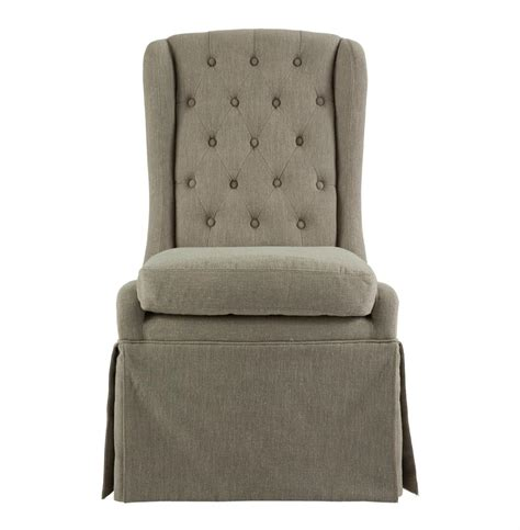 Skirted Dining Chair Issac Gray Linen Skirted Tufted Dining Occasional Chair Kathy Kuo Home