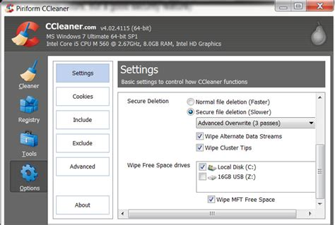 ccleaner wipe entire drive ccleaner how to configure ccleaner to wipe cluster tips
