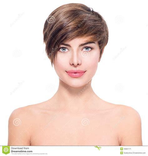 beautiful young woman  short hair stock photo image
